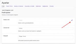 twitch profil ayarları kullanıcı adı sekmesi